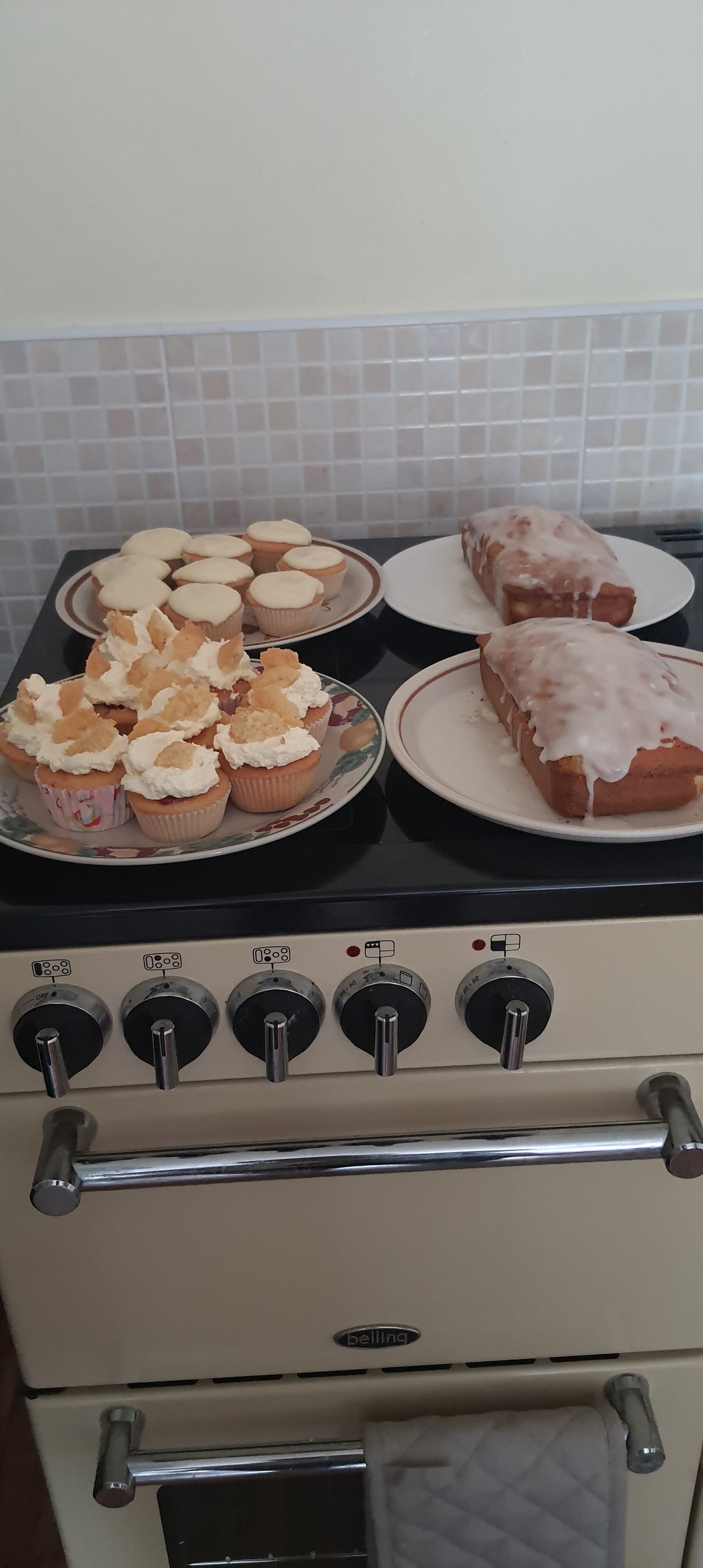 Joan's cake baking her friends V.E afternoon tea boxes.
